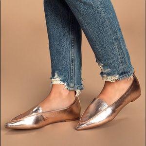 NIB Lulu's Emmy Rose Gold Metallic Pointed Loafers